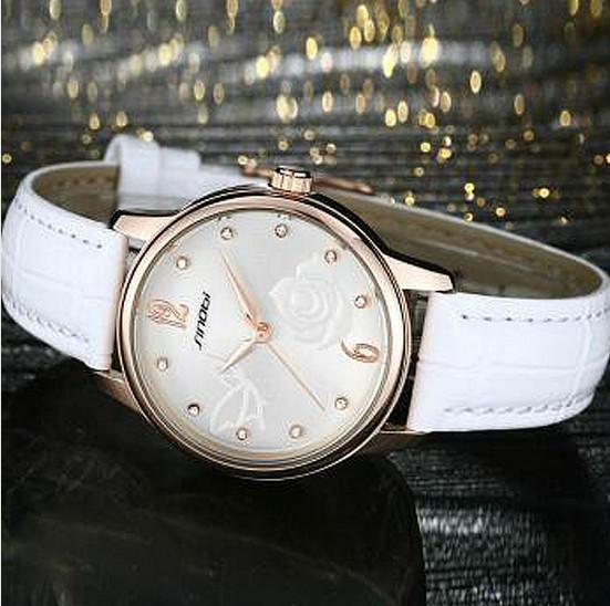 SINOBI роскошь золотые часы женщин мода кристалл часы кожаный Кварцевые часы дамы часы