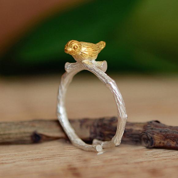 Женские Кольца серебряные позолоченные птица шаблон регулируемое кольцо партии ювелирный подарок