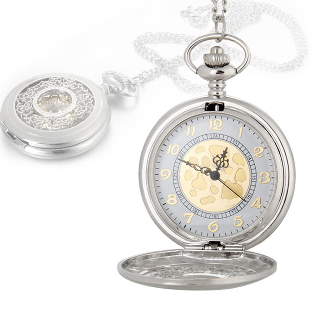 Старинный большой золотой лицо карманные часы ожерелье женщин мужчины кварцевые карманные часы