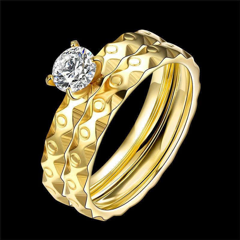 2шт/1SET титановые стали золотые брак размер кольца обручальные кольца США 6-9