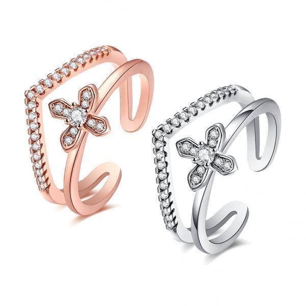 Роза женщин золото / серебро обручальные кольца 467180