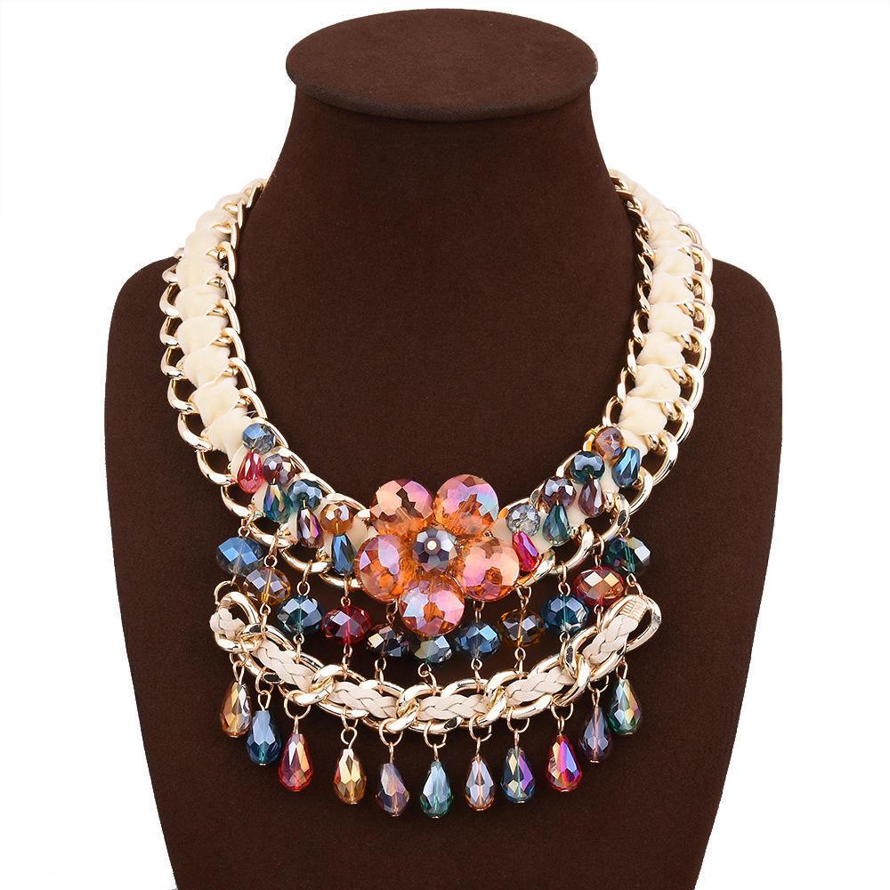 Новые популярные кристалл цветок ожерелье ручного плетения преувеличенные ожерелье