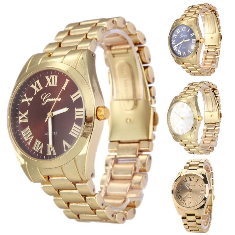 2015 года золотые часы моды кварца наручные часы женщина платье часы