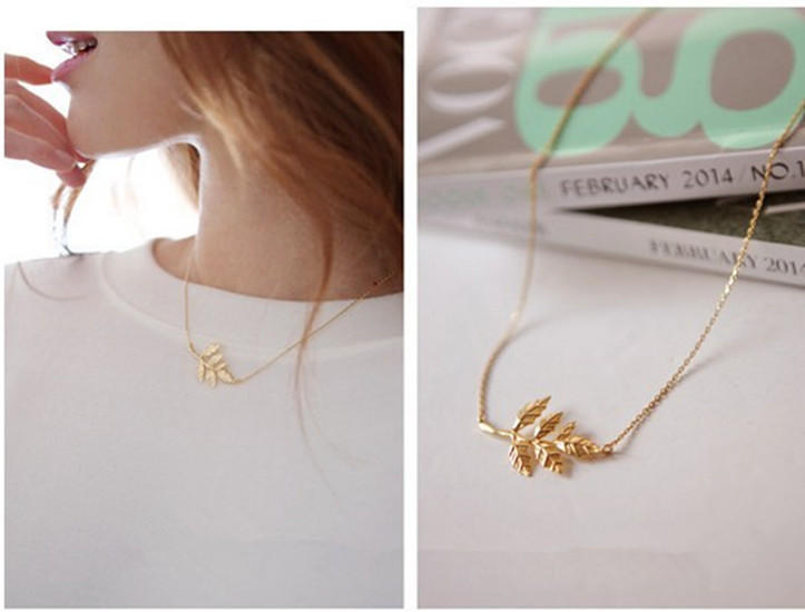 Новая мода знаменитости простой элегантный листья Кулон очарование цепи ожерелье золото знаменитости в челябинске