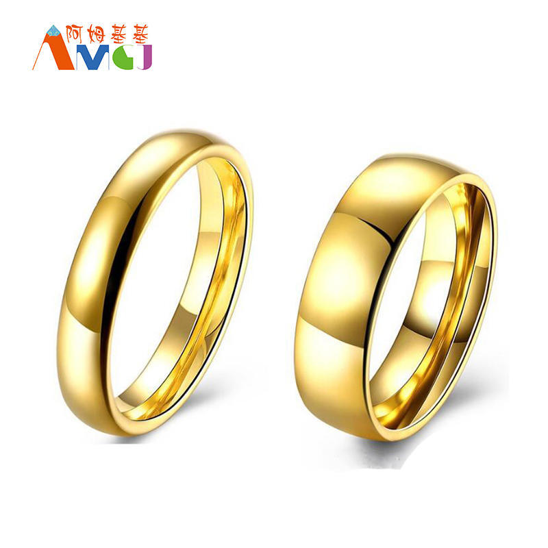 Горячие Продажа золота покрытием из нержавеющей стали кольца гладкие пара кольца Свадебные украше...