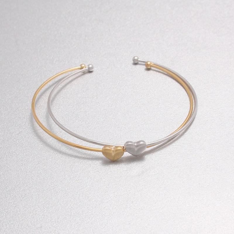 Мода женщин золото серебро сердце панк манжеты браслет браслет браслет ювелирных изделий