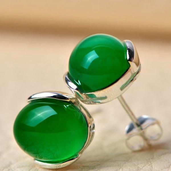 Черный агат серьги 100% подлинный 925 Серебрянные серьги Стад с зеленый агат камень