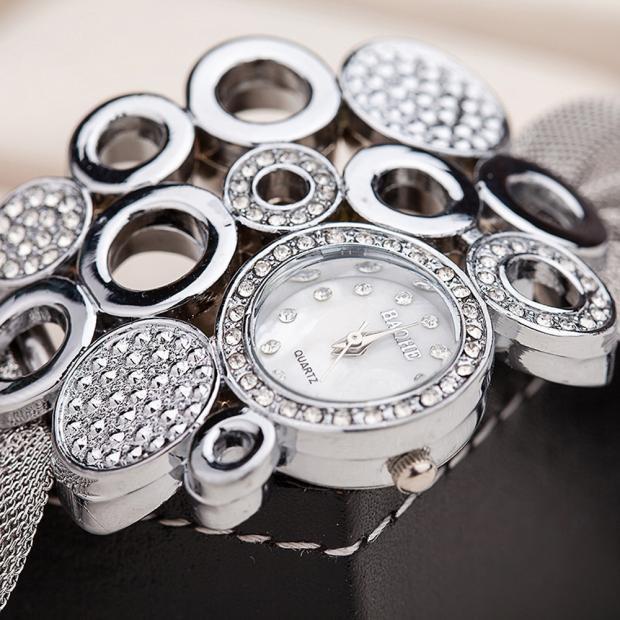 Bessky женской моды часы часы роскошные марки кварцевые часы золотые