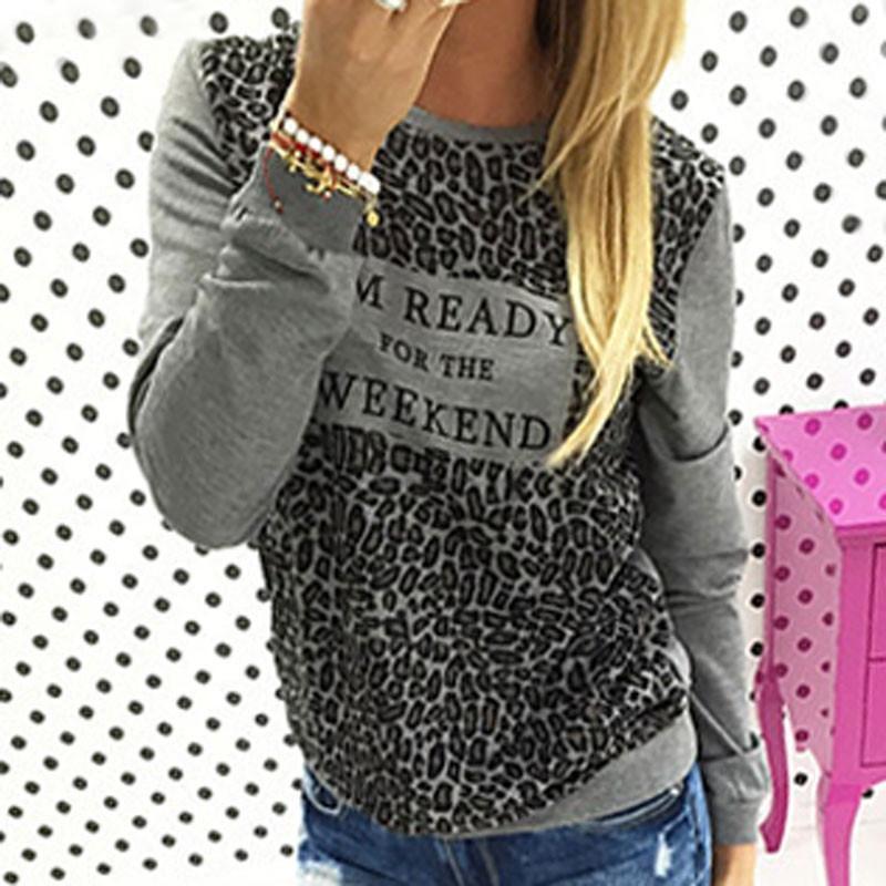 Женщины Crewneck длинные печати Пуловер куртки и пиджаки Tee топы случайные свитер джемпер