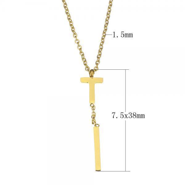 Мода женщин золото покрытием из нержавеющей стали буква T кулон ожерелье ювелирные изделия amorem буква р золото 750 amorem