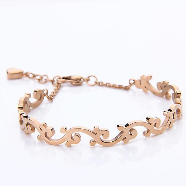 Нержавеющая сталь Цветочная Вайн браслет браслет - золотой