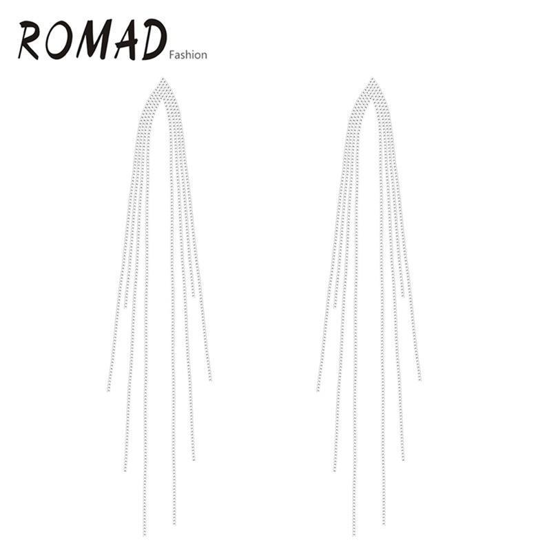 Элегантные длинные серьги белого золота покрытием серьги на крючках кистями цепи