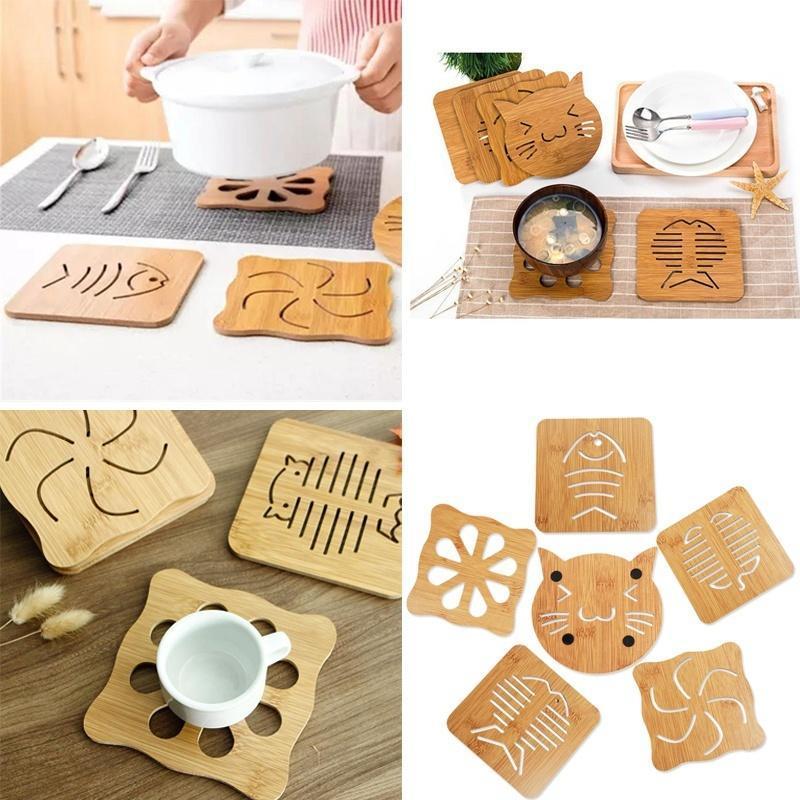 Прекрасные полые деревянные резные теплоизоляционные противоскользящие Кубка Coaster мат кухонная... посуда кухонная