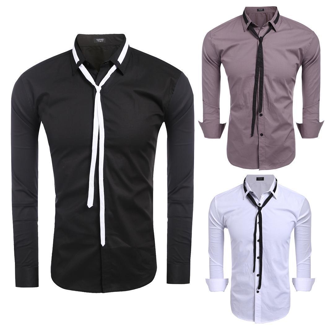 Comen Мужские рубашки рубашки кнопку с шнурком рубашки
