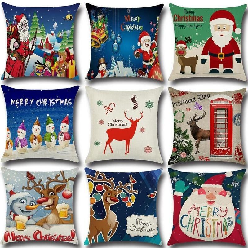 1pc happy christmas cushion cover xmas ambience square pillo