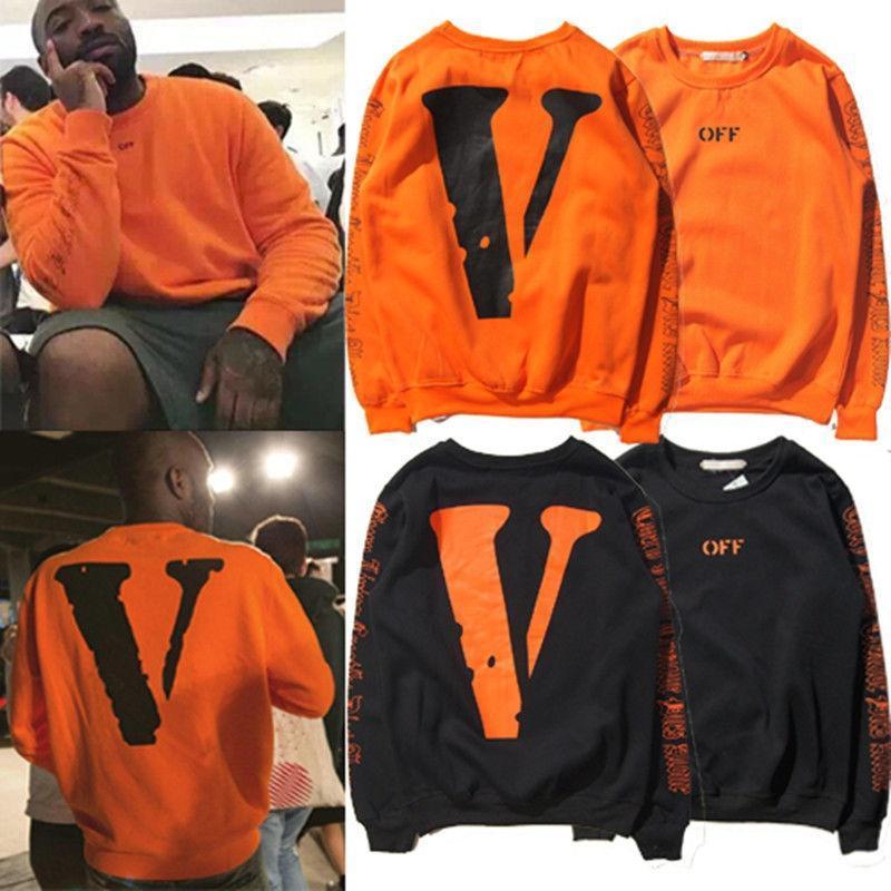 VLONE X ПОКИНУТЬ белый VIRGIL ABLOH V $AP СКАЛИСТЫХ оранжевый длинный рукав Лос-Анджелес печать в...