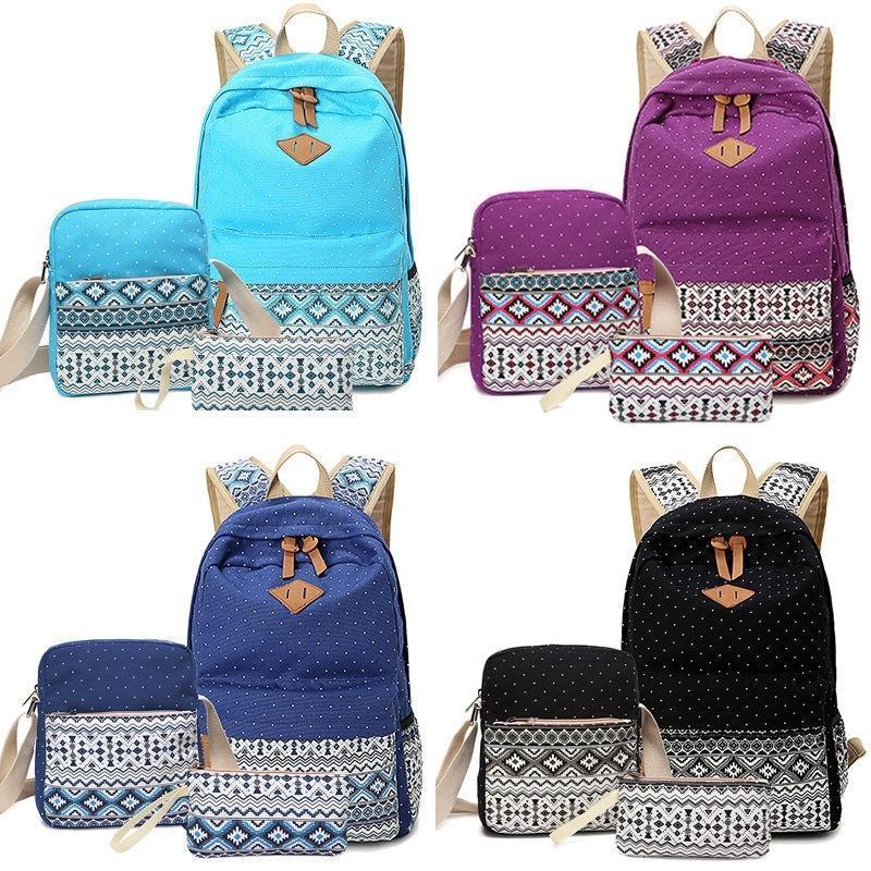 3pcs женщин мужские сумки рюкзак школы моды плечо сумка рюкзак Холст Дорожная сумка мужские сумки