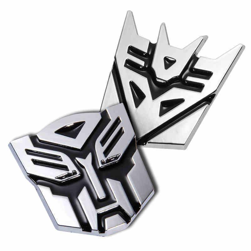 7 см серебристая персонализированных Трансформаторы автоботов автомобиля металла Декаль наклейки трансформаторы