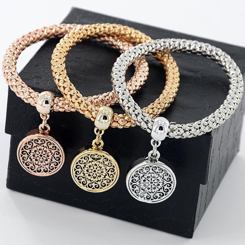 3pcs/set браслеты браслеты ювелирные украшения цепочки браслет раунда полые Шарм Браслеты