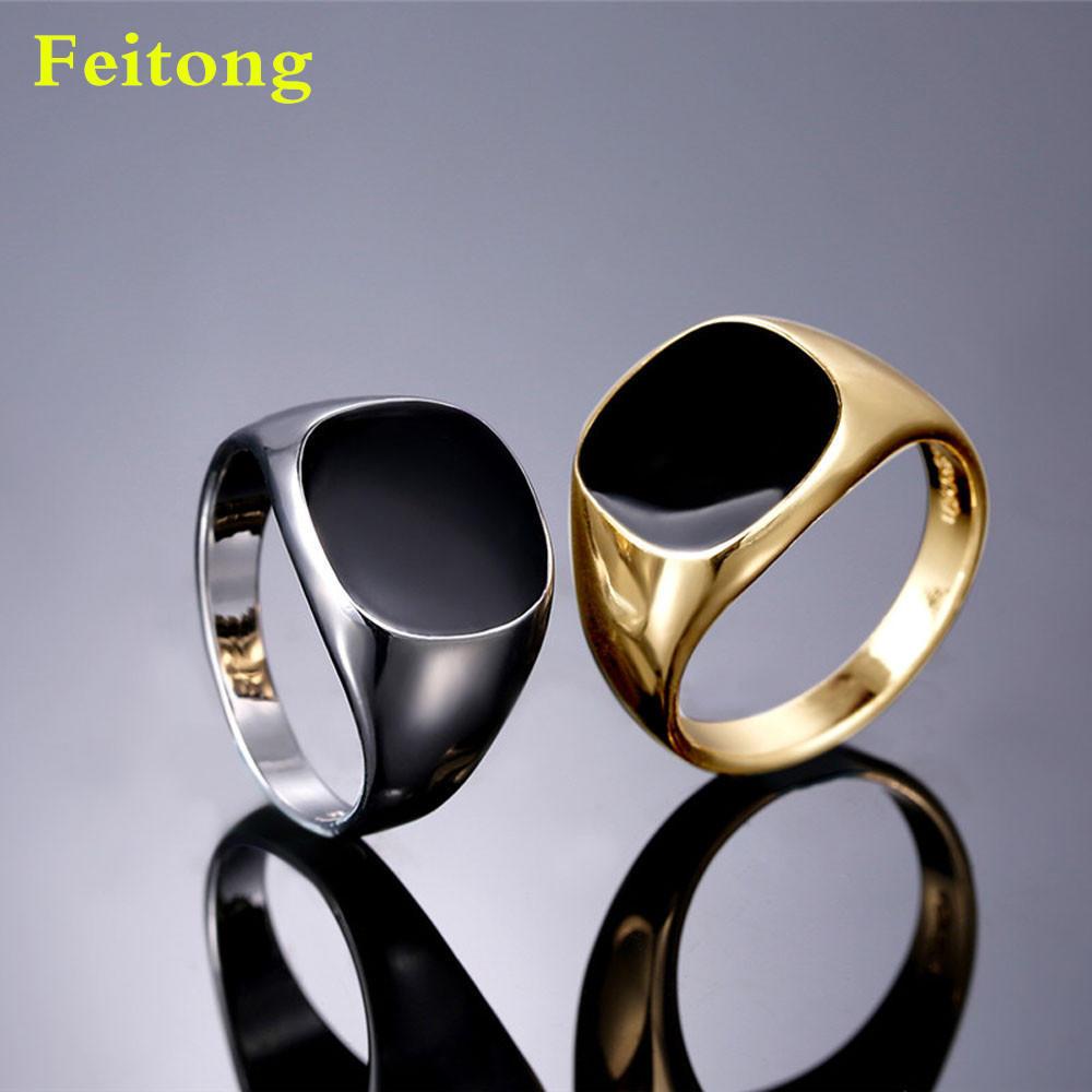 Твердых полированной нержавеющей стали полосы байкер мужчин Печатка кольцо золото серебро
