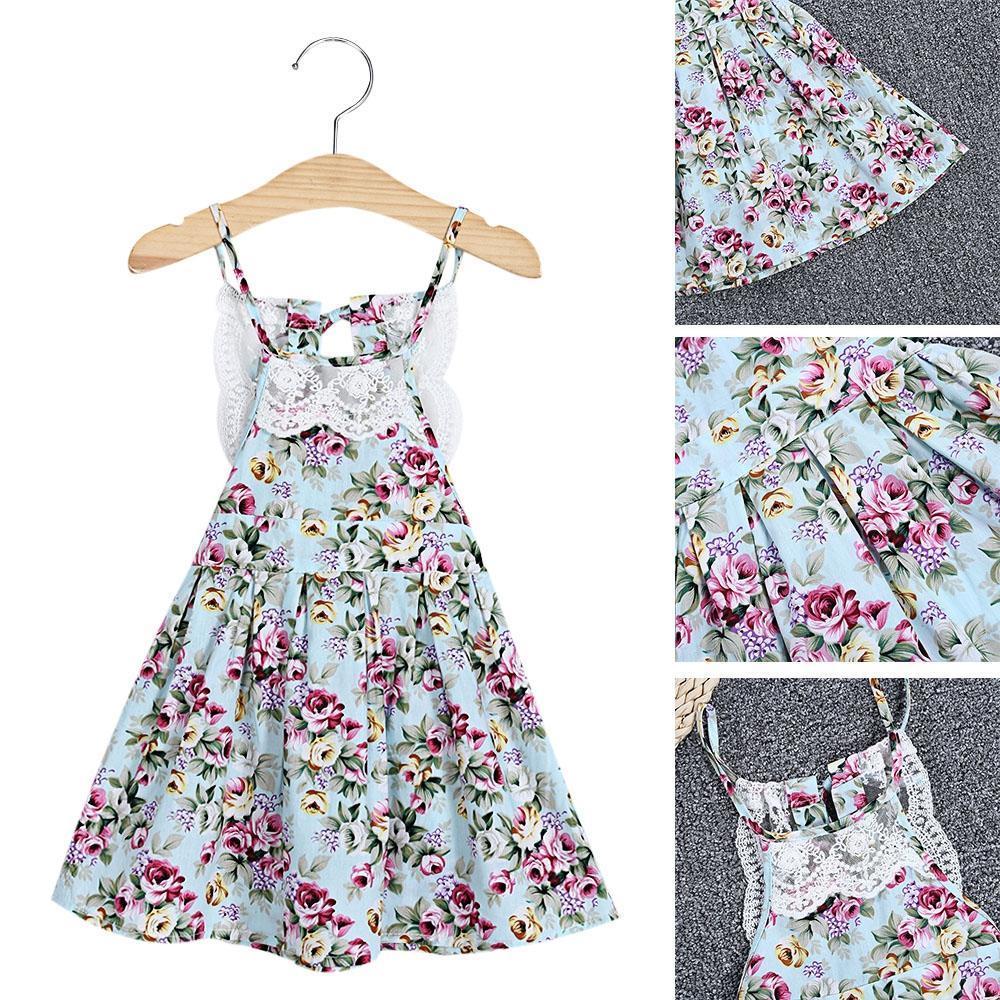 Девочек спагетти ремень кружево выдалбливают цветочные платья печати платья для девочек