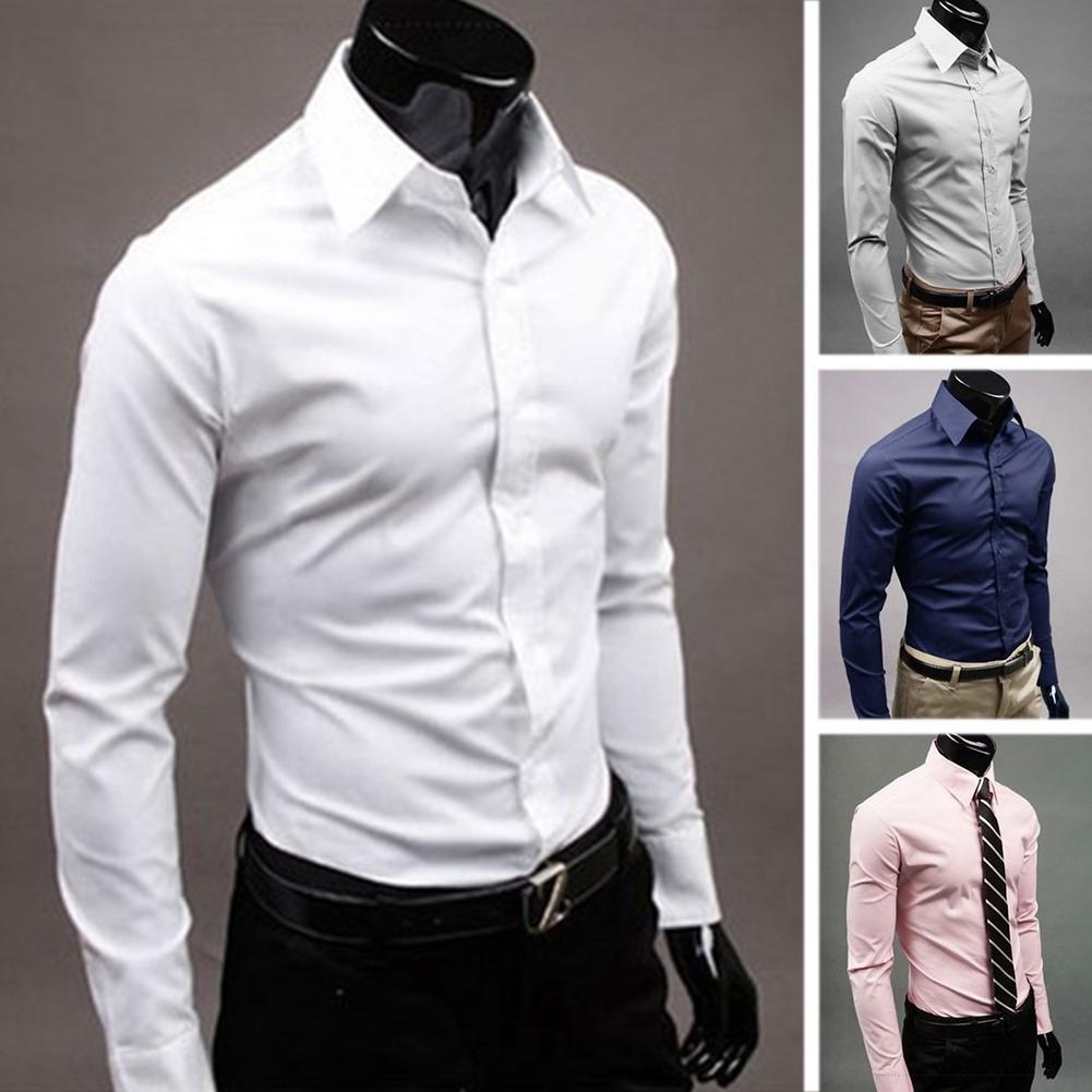 Роскошные мужские Slim Fit рубашки с длинным рукавом платье рубашки повседневные рубашки Топы Блузки рубашки