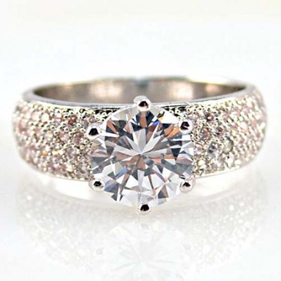Женская мода циркона посеребренные кольцо очаровательной Faux драгоценных камней кольца ювелирные...