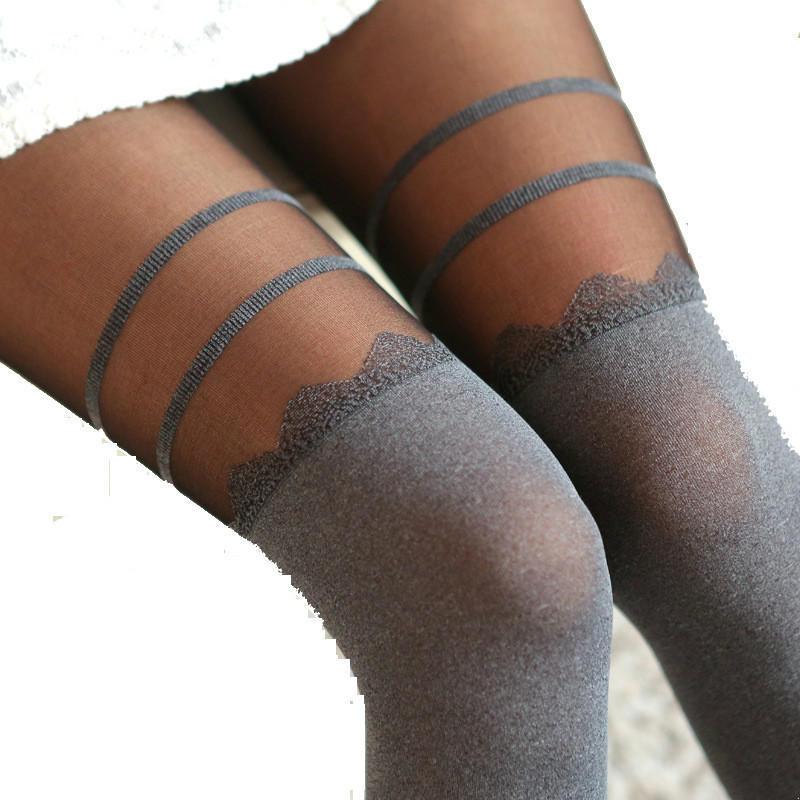 Мода шифона Сексуальные колготки ложных Колготки анти-крюк нейлоновые чулки