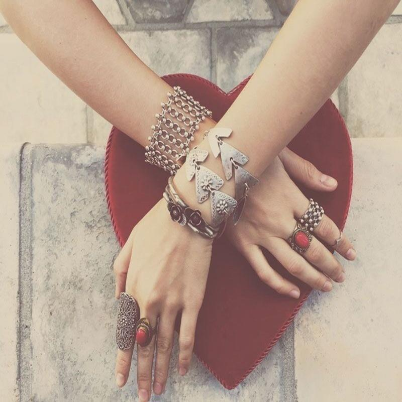 Винтаж женщины богемы треугольник браслет браслет ювелирные изделия Браслеты