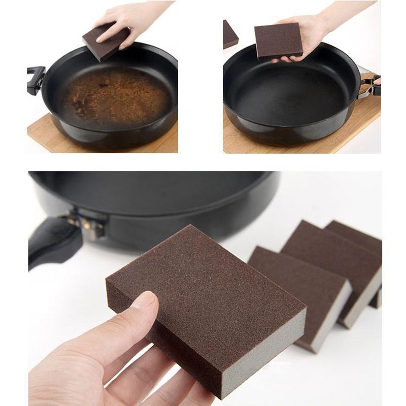 Горячие Браун, удаления накипи Губка сковороду чистых кухня очистки инструментов средство для удаления накипи topperr 3015