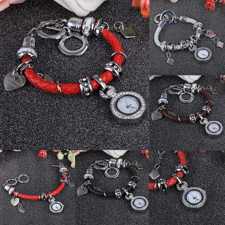 Джерри случайные часы наручные часы горный хрусталь браслеты плетение кварцевые часы