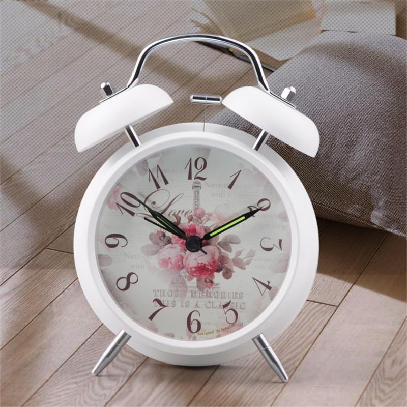 Старинные часы-будильник с цветочным узором фон прикроватные стол настольные часы для детей детей...