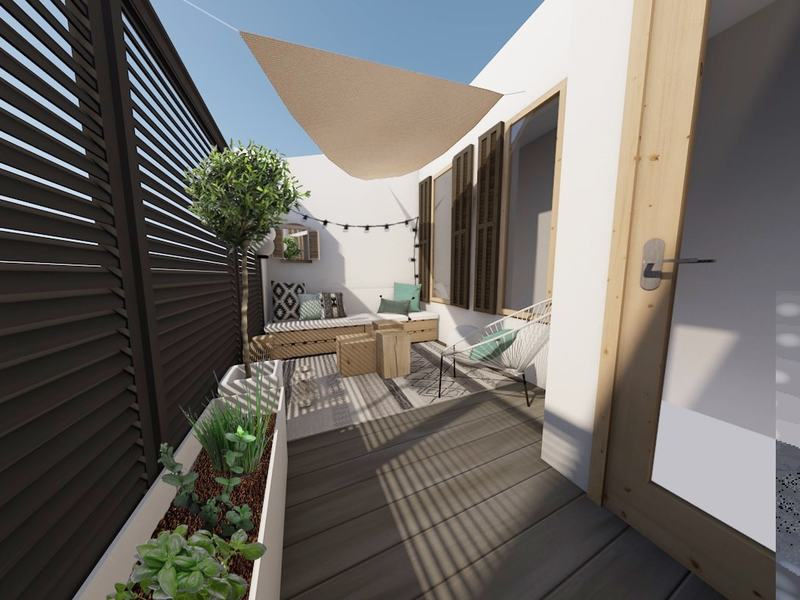 une jolie terrasse pour cultiver son potager et profiter du soleil !