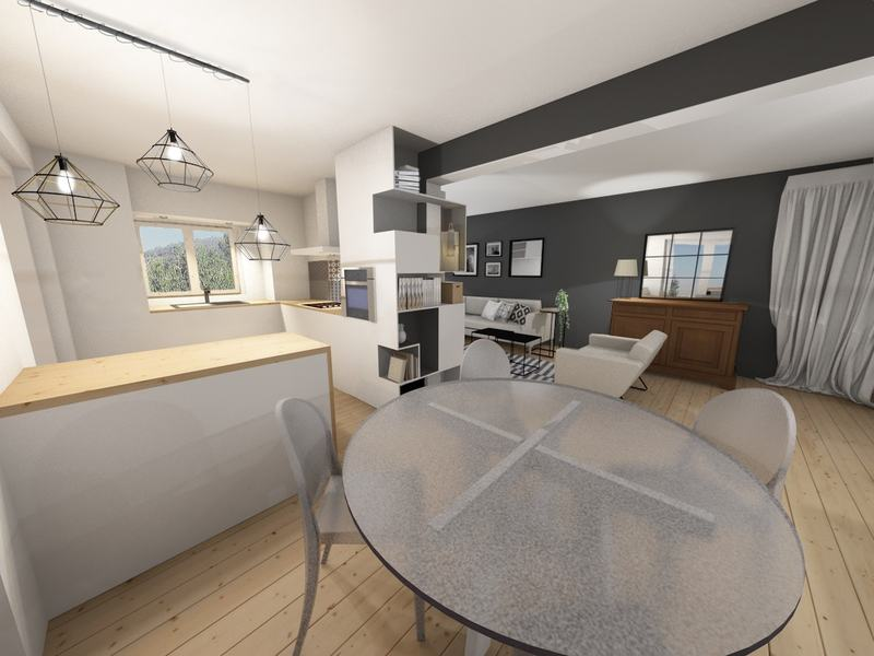 une cuisine salle à manger fonctionnelles et agréables