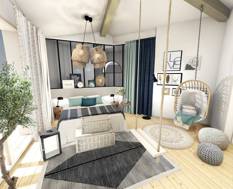 une grande chambre lumineuse l 39 esprit bord de mer chic et casual. Black Bedroom Furniture Sets. Home Design Ideas