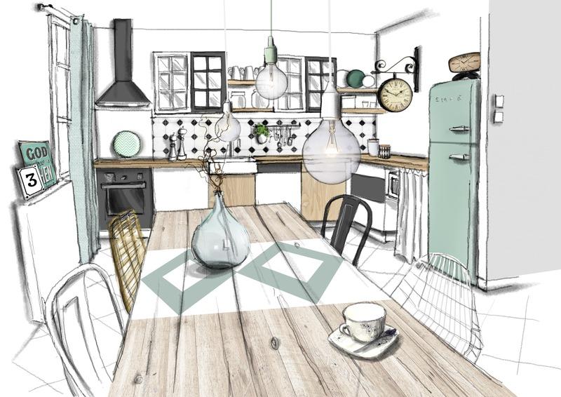 Relooking d\'une cuisine, quand le rétro rencontre le vert menthe !
