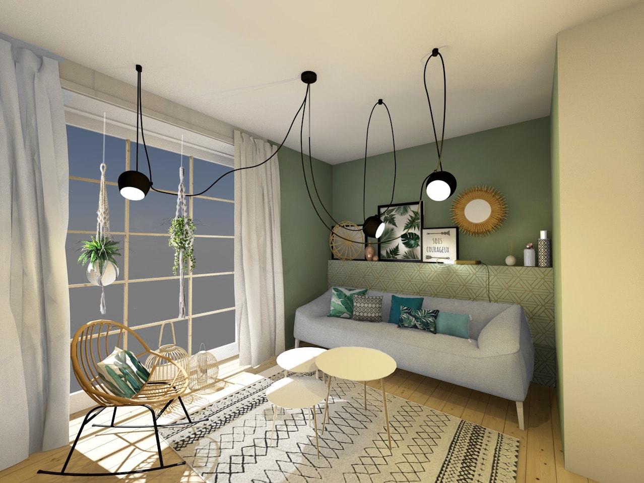 un salon lumineux o la nature et le vert sont l 39 honneur. Black Bedroom Furniture Sets. Home Design Ideas