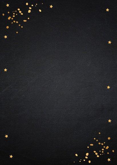 Kerstkaart fotocollage donker goud confetti 2
