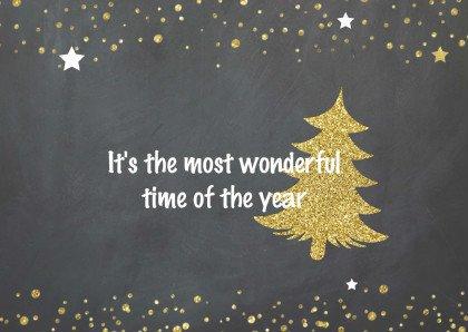 Kerstkaart krijtbord goud - foto 2