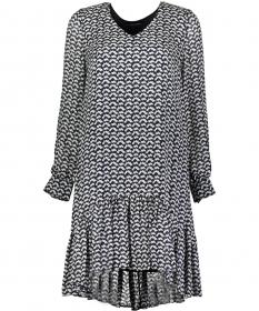 Dress, fluent short style, v-neck,