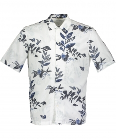 Camp collar,short sleeve,slit at si
