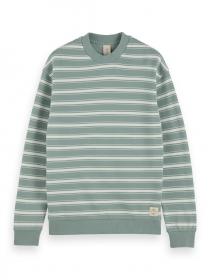 Gestreiftes Baumwoll-Sweatshirt mit Rundhalsausschnitt