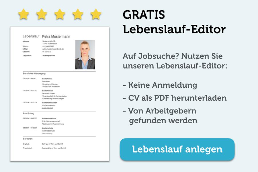 Lebenslauf editor gratis banner