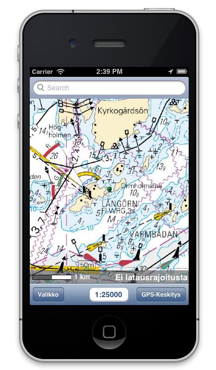 Merikartat nyt myös Karttaselaimen iOS-versiossa