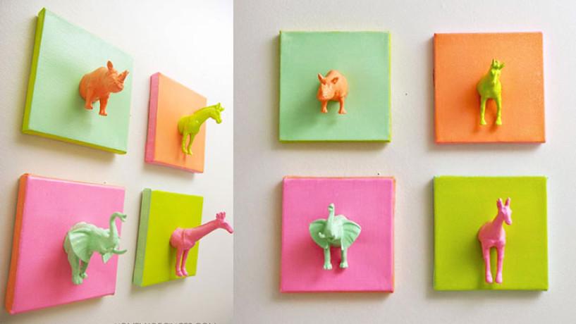 DIY- Cadres animaux en plastique