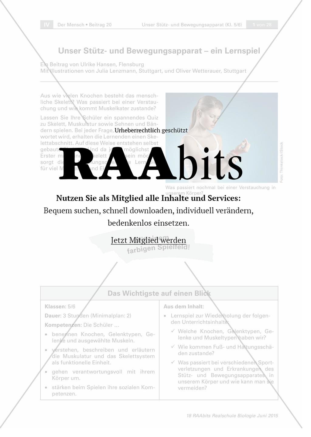 Unser Stütz- und Bewegungsapparat – ein Lernspiel – RAAbits Biologie