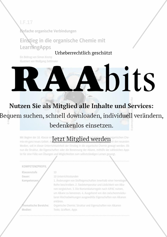 Einstieg In Die Organische Chemie Mit Learningapps Raabits