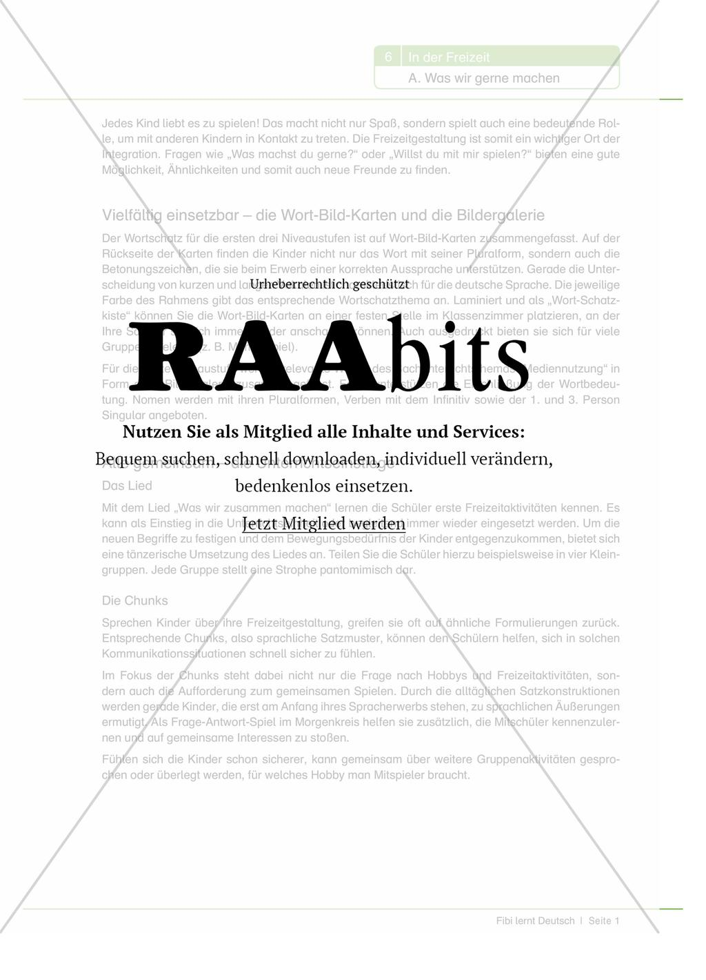 In der Freizeit - Was wir gerne machen – RAAbits Grundschule