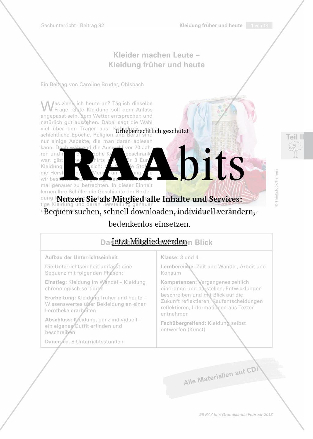 921e7f3435c80e Kleider machen Leute - Kleidung früher und heute – RAAbits Grundschule
