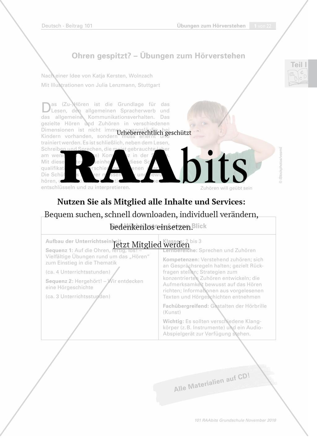 Ohren Gespitzt übungen Zum Hörverstehen Raabits Grundschule